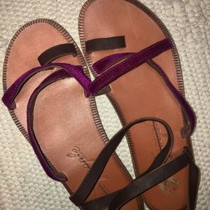 Free People Strappy Leather Velvet Purple Sandals